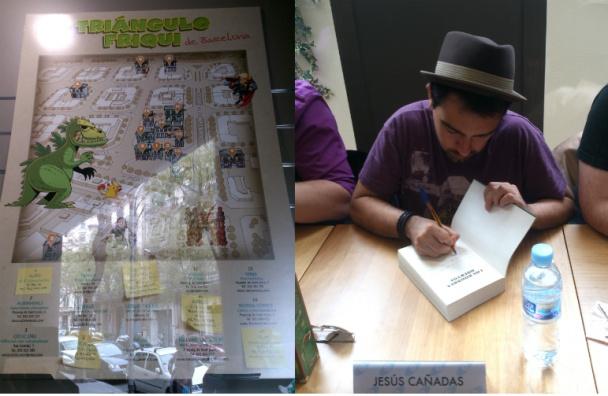 Cartel del triángulo friki en el escaparate y Jesús Cañadas, firmando Los nombres muertos, novela editada por Fantascy