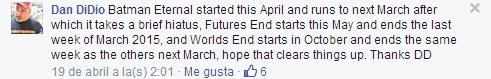 Comentario de Dan DiDio en Facebook