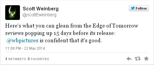 Al filo del mañana - tuit Scott Weinberg