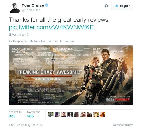 Al filo del mañana - tuit Tom Cruise