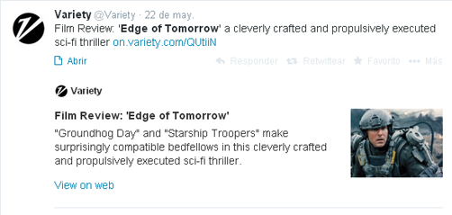 Al filo del mañana - tuit Variety