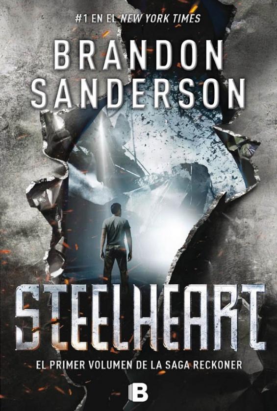 Portada de Steelheart, primera novela de la trilogía Reckoners de Brandon Sanderson, editada por NOVA de Ediciones B