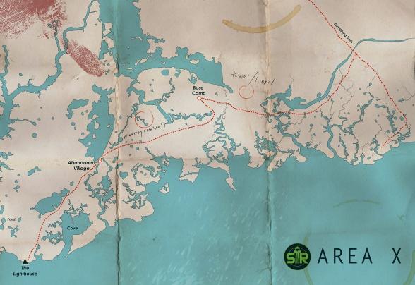 Mapa del Área X de Aniquilación, de Jeff VanderMeer, autor de la trilogía Southern Reach (Aniquilación, Autoridad y Aceptación). Editada por Destino.