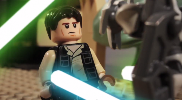 han solo vs general grievous in lego animated short