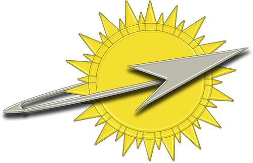 Representación idealizada del emblema del Imperio Galáctico: el sol y la astronave