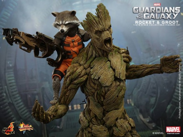 guardians of the galaxy hot toys groot and rocket 3