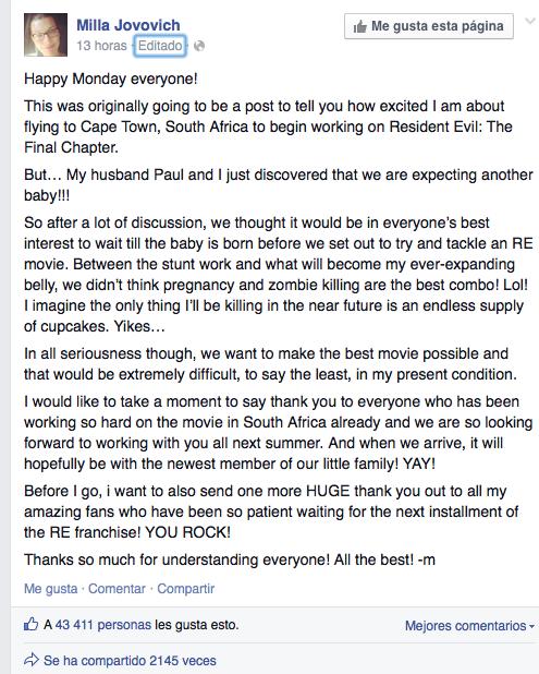 Milla Jovovich Facebook