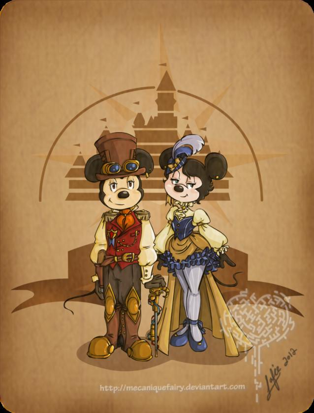 disney steampunk mickey et minnie by mecaniquefairy d4qti6g