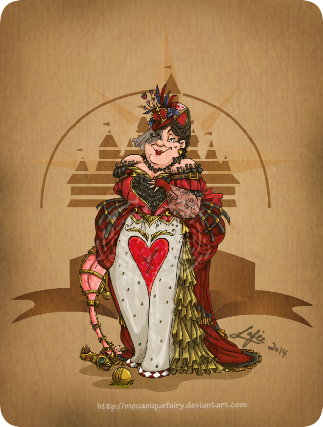 disney steampunk  queen of heart by mecaniquefairy