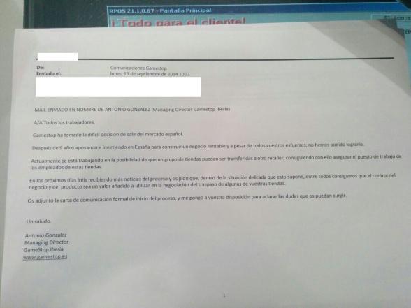 Cierre Gamestop Carta