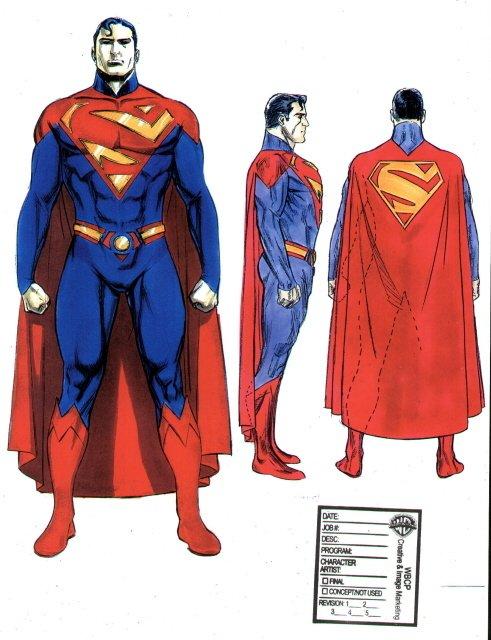 Boceto del traje de Superman en 'Superman Flyby'
