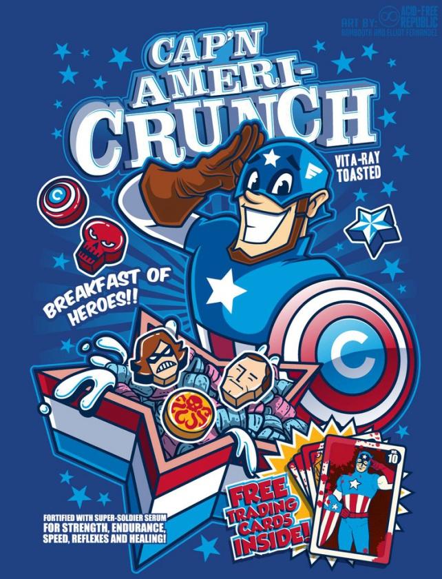 Ilustraciones de cereales basados en personajes de Marvel Comics