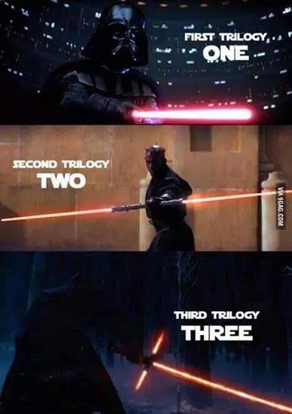 Star Wars the Force awakens lightsaber trilogy meme 0