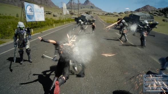 Final Fantasy XV (lucha en carretera 7)