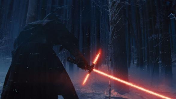 Peligro sable de luz cruzado Star Wars el despertar de la fuerza