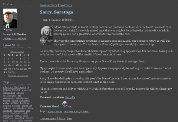 George R R Martin blog 01