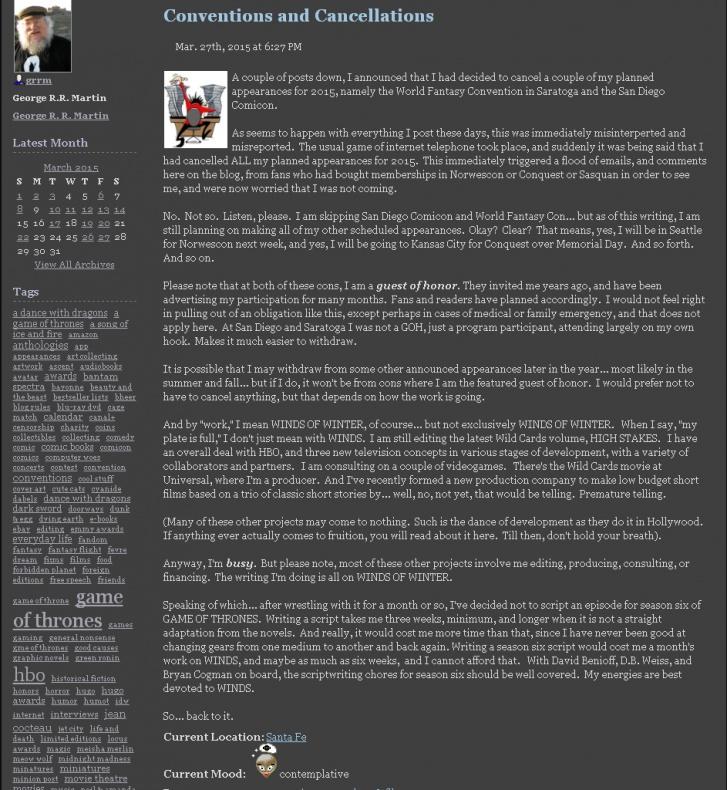 George R R Martin blog 02