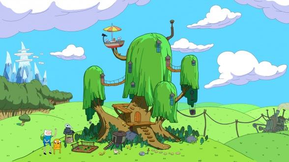 hora de aventuras fuerte del arbol prados verdes
