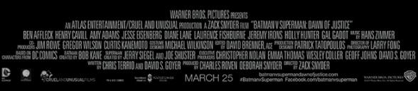Batman V Superman: Dawn of Justice Créditos