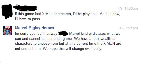 X-Men se quedan fuera del poster y juegos de Marvel conversacion sobre el juego