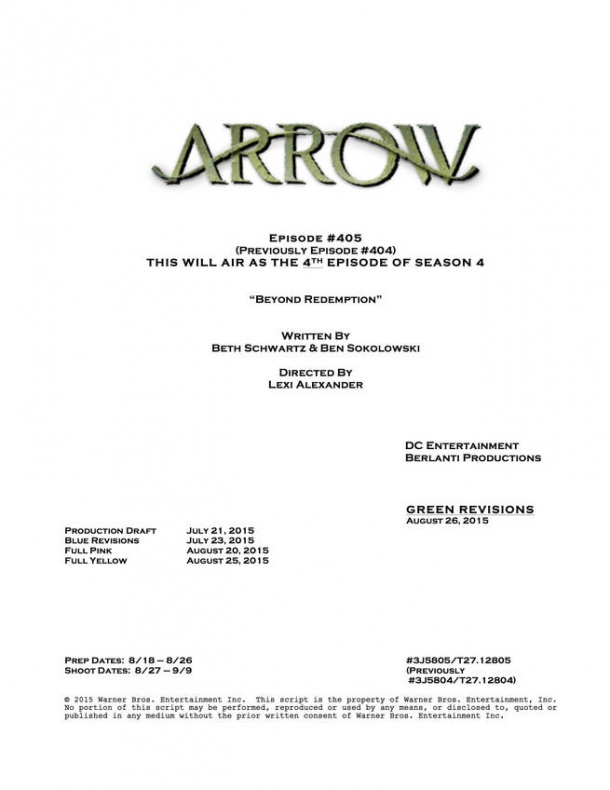 Arrow portada guion 4x04