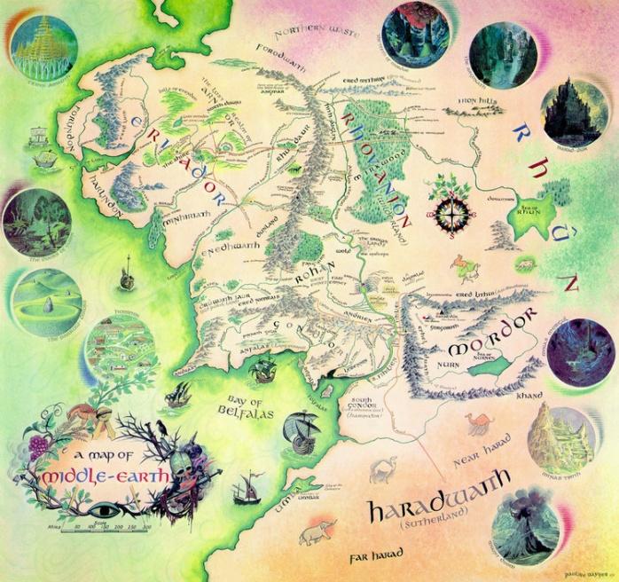 El Hobbit Mapa De La Tierra Media Poster Lamina Compra En