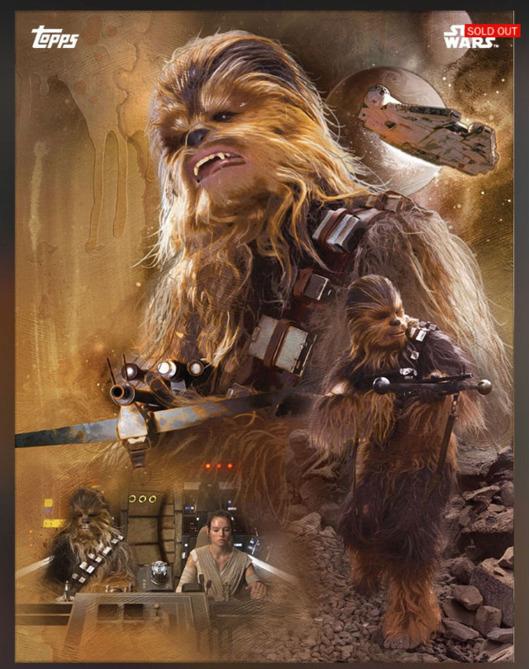 Star Wars - cartas jugables - Chewbacca (y Rey pilotando el Halcón Milenario)