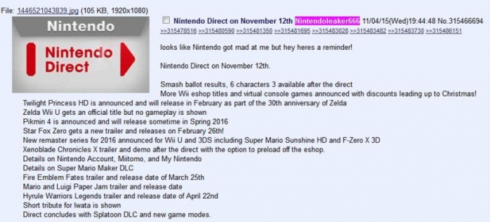 Nintendo Direct 4chan
