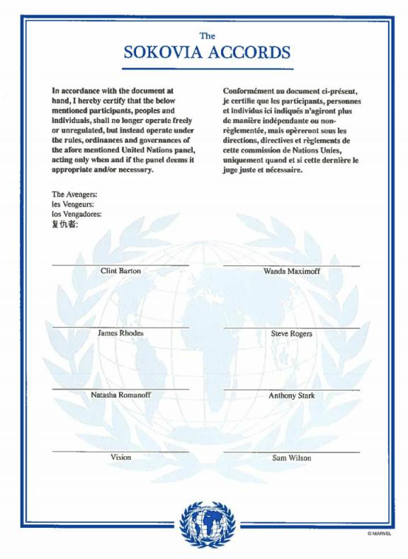 Acuerdo de Sokovia Civil War acta de registro
