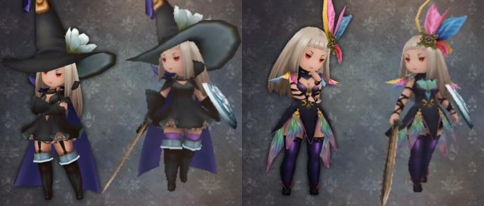 Comparación de los trajes de Mago Negro e Invocadora con la versión de Occidente.