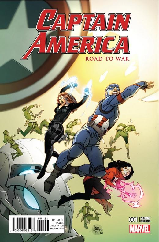 Captain America Road to War Portada alternativa de Pasqual Ferry