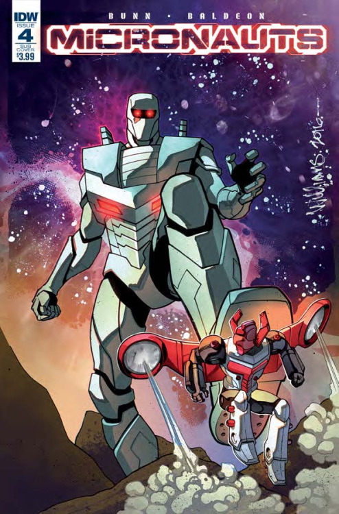 Micronauts #4, portada de David Williams