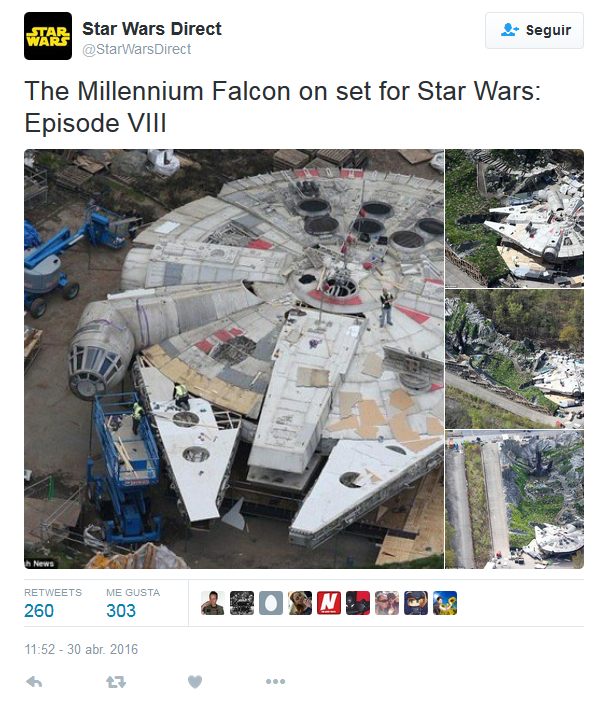 2016-05-01 19_25_21-Star Wars Direct en Twitter_ _The Millennium Falcon on set for Star Wars_ Episod