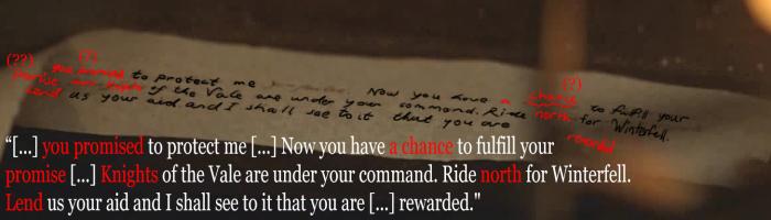 Carta Sansa Juego de Tronos descifrada