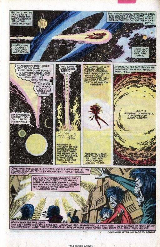 13 Proezas increíbles que han hecho los superhéroes 08 El Fénix Oscuro consume sistemas solares enteros