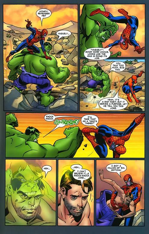 13 Proezas increíbles que han hecho los superhéroes 12 Spiderman calma a Hulk con un chiste