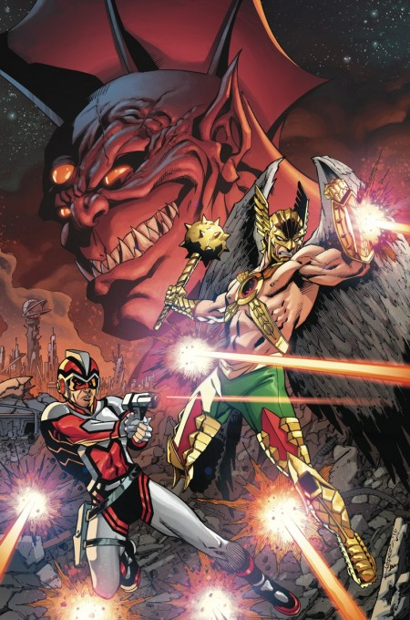 Hawkman and Adam Strange Out of Time Portada de Aaron Lopresti