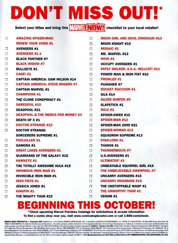 Marvel Now listado