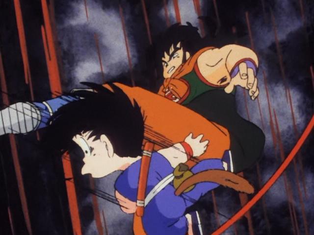 Yamcha patea a Goku