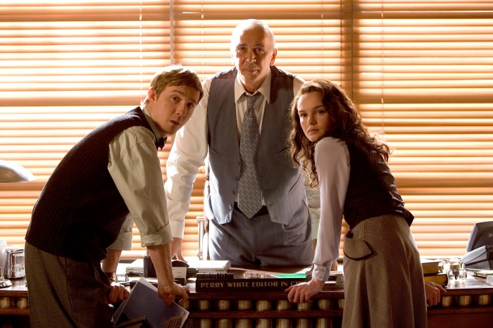 frank langella kate bosworth and sam huntington in superman returns 2006
