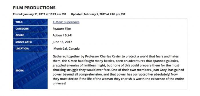 X Men Supernova production synopsis
