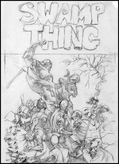 Swamp Thing boceto de portada Bernie Wrightson