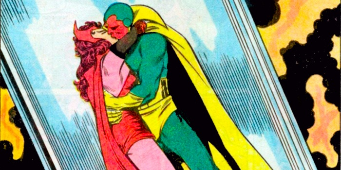 Vengadores Infinity War Wanda y Visión Kiss