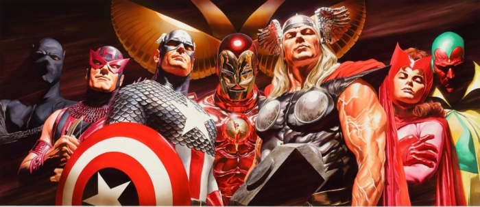 alex ross hand signed and numbered limited edition oversize anniversary canvas giclee the assemble 1