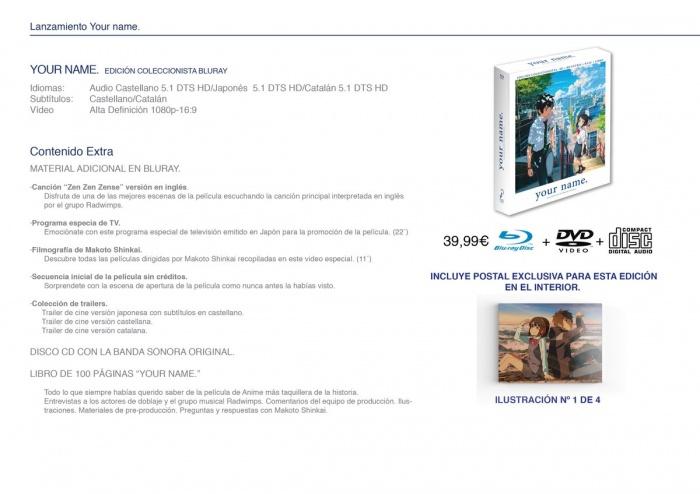 Edición coleccionista Bluray Your name Selecta Visión