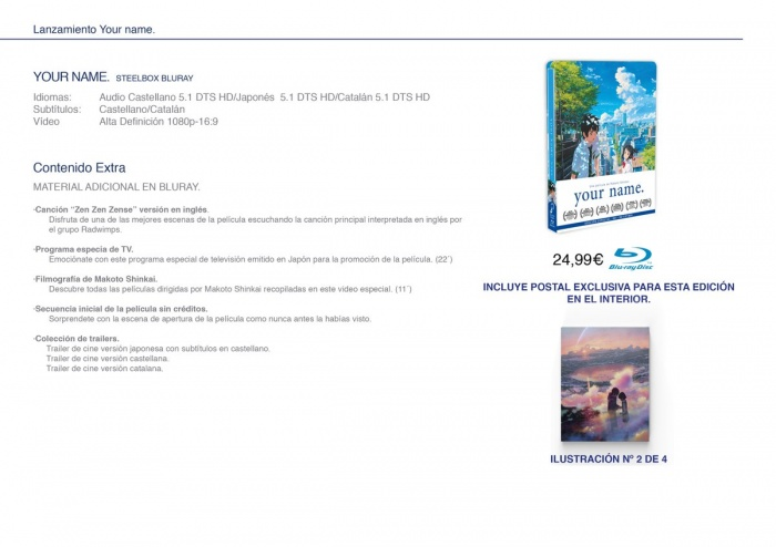 Edición steelbox Bluray Your name Selecta Visión