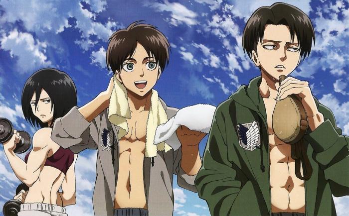 Mikasa Eren and Levi