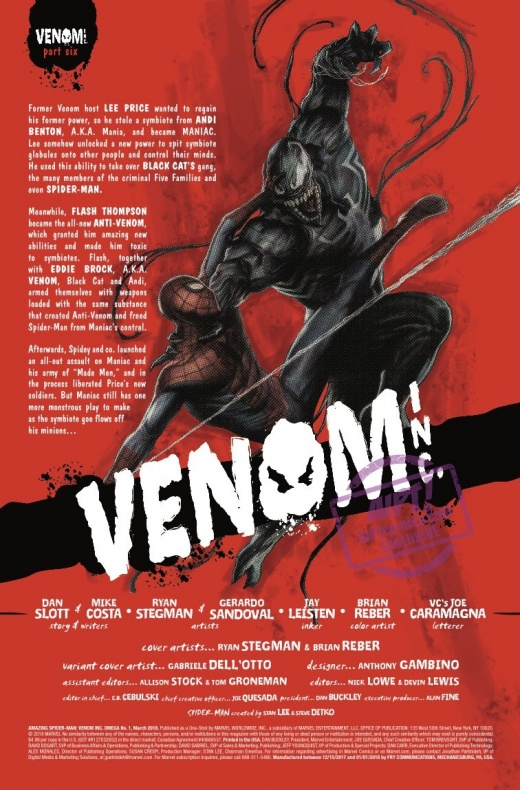 Amazing Spider Man Venom Inc. Omega 2