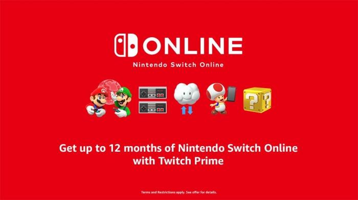 Suscribete a Nintendo Switch Online por 12 meses con Amazon/Twitch Prime