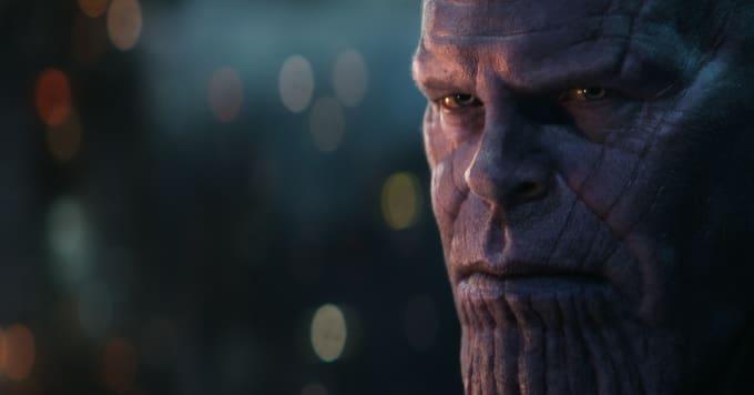 Vengadores Endgame - primer plano de Thanos